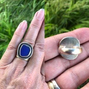 Sea Glass Ring, Cobalt Blue